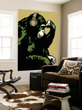 Monkey Thinker - Gold Wall Mural by  Steez