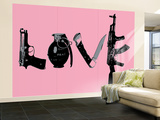 Love (Weapons) Pink Wall Mural – Large by  Steez