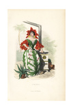 Cactus Flower Fairy in Bonnet and Sleeves of Flowers Giclee Print by Jean Ignace Grandville