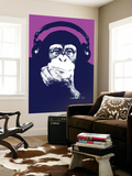 Headphone Chimp - Purple Wall Mural by  Steez