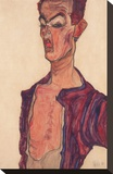 Self-Portrait, Grimacing Stretched Canvas Print by Egon Schiele