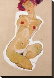Squatting Female Nude Stretched Canvas Print by Egon Schiele
