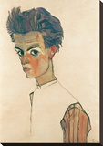 Self-Portrait with Striped Shirt Stretched Canvas Print by Egon Schiele