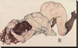 Kneeling Girl, Resting on Both Elbows Stretched Canvas Print by Egon Schiele