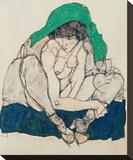 Crouching Woman with Green Headscarf Reproduction transférée sur toile par Egon Schiele