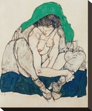 Crouching Woman with Green Headscarf Stretched Canvas Print by Egon Schiele