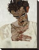 Self-Portrait with Lowered Head Stretched Canvas Print by Egon Schiele