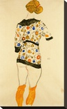 Standing Woman in a Patterned Blouse Stretched Canvas Print by Egon Schiele