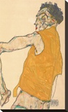 Self-Portrait in Yellow Vest, 1914 Stretched Canvas Print by Egon Schiele