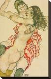 Two Women Embracing Reproduction transférée sur toile par Egon Schiele