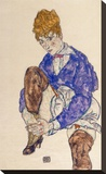 Portrait of the Artist's Wife Seated, Holding Her Right Leg Stretched Canvas Print by Egon Schiele