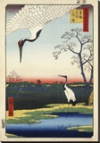 Two Cranes from Meisho Yedo Hiakkei (One Hundred Famous Views of Edo) Stretched Canvas Print by Ando Hiroshige