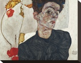 Self-Portrait with Physalis, 1912 Stretched Canvas Print by Egon Schiele