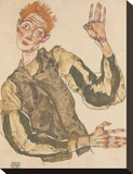 Self-Portrait with Striped Armlets Stretched Canvas Print by Egon Schiele