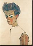 Egon Schiele - Self-Portrait with Striped Shirt - Şasili Gerilmiş Tuvale Reprodüksiyon