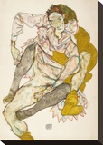 Seated Couple, 1915 Stretched Canvas Print by Egon Schiele