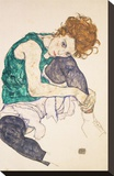 Seated Woman with Legs Drawn Up (Adele Herms), 1917 Stretched Canvas Print by Egon Schiele