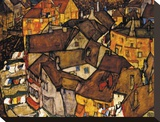 Crescent of Houses (The Small City V), 1915 Stretched Canvas Print by Egon Schiele