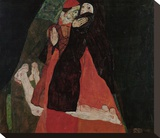 Cardinal and Nun (Caress) Stretched Canvas Print by Egon Schiele