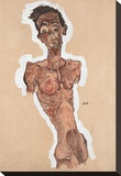 Nude Self-Portrait Stretched Canvas Print by Egon Schiele