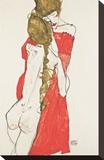 Mère et fille Reproduction transférée sur toile par Egon Schiele
