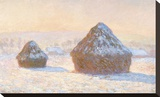 Wheatstacks, Snow Effect, Morning, 1891 Stretched Canvas Print by Claude Monet