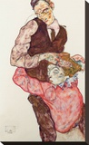 Lovers Stretched Canvas Print by Egon Schiele
