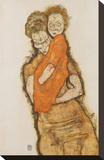 Mother and Child Stretched Canvas Print by Egon Schiele