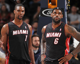 Dec 30, 2013, Miami Heat vs Denver Nuggets - LeBron James, Chris Bosh Photographic Print by Garrett Ellwood