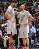 Dec 25, 2013, Houston Rockets vs San Antonio Spurs - Tim Duncan, Tony Parker Photographic Print by D. Clarke Evans