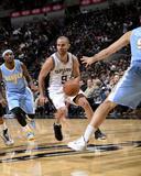 Mar 26, 2014, Denver Nuggets vs San Antonio Spurs - Tony Parker Photographic Print by D. Clarke Evans