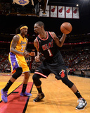 Jan 23, 2014, Los Angeles Lakers vs Miami Heat - Jordan Hill, Chris Bosh Photographic Print by Andrew Bernstein