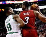 Mar 19, 2014, Miami Heat vs Boston Celtics - Rajon Rondo, Dwayne Wade Photographic Print by Brian Babineau