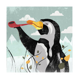 Penguin Stroll Giclee Print by Anna Polanski