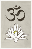 Lotus Meditation AUM Blue White Poster Prints