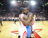 Apr 4, 2014, Oklahoma City Thunder vs Houston Rockets - James Harden, Serge Ibaka Photographic Print by Bill Baptist