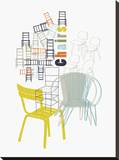 A Collection of Chairs Stretched Canvas Print by Laure Girardin-Vissian