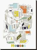 A Collection of Houses Stretched Canvas Print by Laure Girardin-Vissian