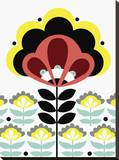 Nordic Flowers V Stretched Canvas Print by Laure Girardin-Vissian
