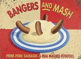 Bangers & Mash Blechschild von Martin Wiscombe