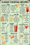 Classic Cocktail Recipes Plechová cedule