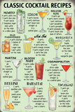 Classic Cocktail Recipes Cartel de metal