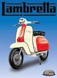 Lambretta - Red & White Plaque en métal
