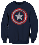 Crewneck Sweater: Captain America - Distressed Shield T-shirts