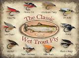 The Classic Wet Trout Fly Plaque en métal