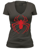 Juniors: Spiderman - Red Logo (Deep V) T-shirts
