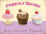 Freshly Baked - Your Favourite Cupcakes Plaque en métal