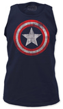 Tank Top: Captain America - Distressed Shield on Navy Shirts