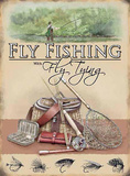 Flyf Fshing with Fly Tying Carteles metálicos