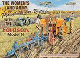 Womens Land Army - Ploughing for Britain Tin Sign by Trevor Mitchell